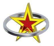 Estrela do ouro em um círculo do cromo Foto de Stock