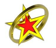 Estrela do ouro em um círculo do ouro Imagens de Stock