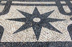 Estrela do pavimento de Lisboa Imagem de Stock Royalty Free
