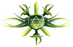 Estrela do rei David no protetor com espadas Foto de Stock