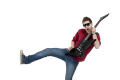 Estrela do rock com guitarra fotos de stock royalty free