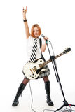 Estrela do rock nova com uma guitarra fotografia de stock royalty free
