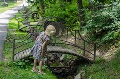 A estrela do symbolisze da ponte assina dentro o parque Schonborn, Voyevodyno, Ucrânia imagem de stock royalty free