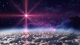 Estrela do vermelho da noite do espaço fotografia de stock