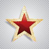 Estrela do vermelho do ouro da gema ilustração royalty free
