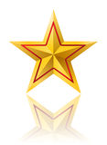 Estrela dourada com linha vermelha ilustração royalty free