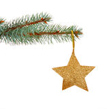 Estrela dourada do Natal Fotografia de Stock