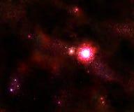 Estrela e galáxia vermelha do espaço ilustração royalty free