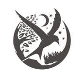 Estrela e lua da árvore do pássaro Fotos de Stock