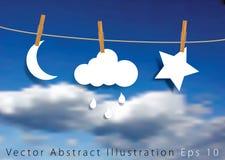 Estrela e lua da chuva Imagem de Stock
