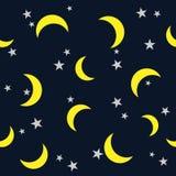 Estrela e lua do teste padrão da noite no fundo escuro do céu ilustração stock