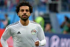 Estrela egípcia Mohamed Salah antes do fósforo Rússia v do campeonato do mundo 2018 fotografia de stock
