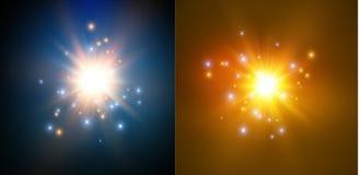 Estrela em um fundo azul Flash brilhante Explosão realística com alargamento Ilustração do vetor ilustração royalty free