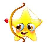 Estrela engraçada de amur com curva e seta Fotografia de Stock Royalty Free