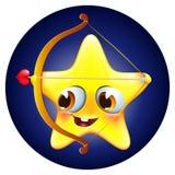 Estrela engraçada de amur com curva e seta no fundo azul Foto de Stock