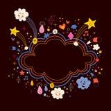 A estrela estoura o fundo do quadro da bandeira da forma da nuvem dos desenhos animados Fotografia de Stock Royalty Free