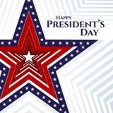 Estrela feliz da bandeira americana da bandeira do texto do dia do presidente em listras americanas patrióticas de uma estrela do ilustração do vetor
