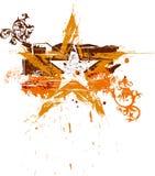 Estrela floral do grunge do ouro Fotografia de Stock