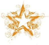 Estrela floral do grunge do ouro Imagens de Stock Royalty Free