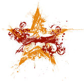 Estrela floral do grunge do ouro ilustração royalty free