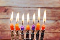 Estrela judaica do feriado do menorah de David Hanukkah imagem de stock royalty free