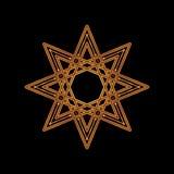 Estrela oito-aguçado do ouro no fundo preto Ilustração do vetor O ícone incorporado tal como o logotype e o logotipo projetam o m Foto de Stock Royalty Free