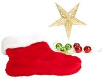 Estrela, ornamento e meia do Natal Fotografia de Stock