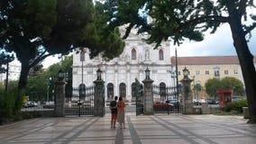 Estrela park. Gate with basilica in front Stock Photos