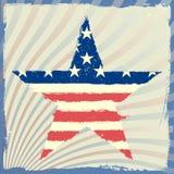 Estrela patriótica em um fundo listrado Fotos de Stock Royalty Free