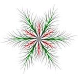estrela Seis-aguçado com os galhos finos verdes e cor vermelha ilustração royalty free