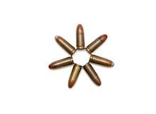 estrela Sete-pointed dos cartuchos de 9mm isolados Imagens de Stock
