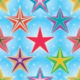 A estrela stars o teste padrão sem emenda brilhante azul Imagens de Stock