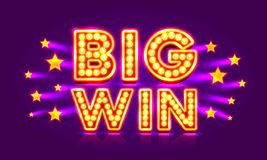 Estrela super da vitória grande da bandeira do casino ilustração do vetor