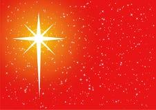 Estrela transversal dourada vermelha do xmas Foto de Stock Royalty Free