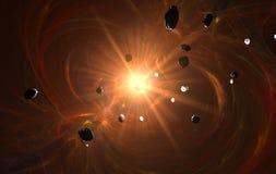 Estrela velha no campo dos asteróides ilustração stock