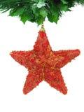 Estrela vermelha do Natal isolada Fotos de Stock