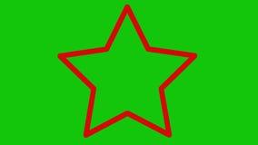 Estrela vermelha que zumbe na tela verde vídeos de arquivo