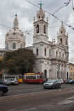 Estrelabasiliek in Lissabon Royalty-vrije Stock Foto