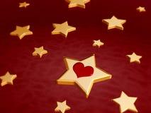 estrelas 3d douradas com coração vermelho Foto de Stock Royalty Free