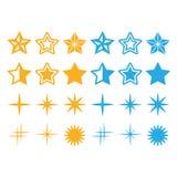 Estrelas amarelas e ícones das estrelas azuis ajustados Fotos de Stock