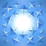 Estrelas azuis em torno da lua imagem de stock