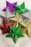 Estrelas bonitas com neve Fotos de Stock Royalty Free