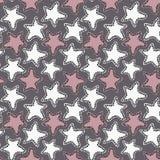 Estrelas brancas e cor-de-rosa tiradas mão em escuro - fundo cinzento ilustração do vetor