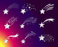 Estrelas brancas ou ícones de queda dos cometas ilustração stock