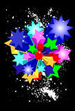 Estrelas brilhantes no fundo preto Imagens de Stock Royalty Free