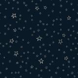 Estrelas cinco-aguçados tiradas mão do lápis ou do giz do teste padrão sem emenda do vetor do tamanho diferente ilustração stock