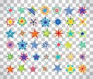 Estrelas coloridas dos desenhos animados no fundo transparente ilustração stock