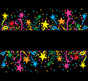 Estrelas coloridas grandes do fundo na noite Foto de Stock