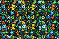 Estrelas coloridos brilhantes no preto Fotos de Stock