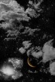 Estrelas com lua Imagens de Stock Royalty Free